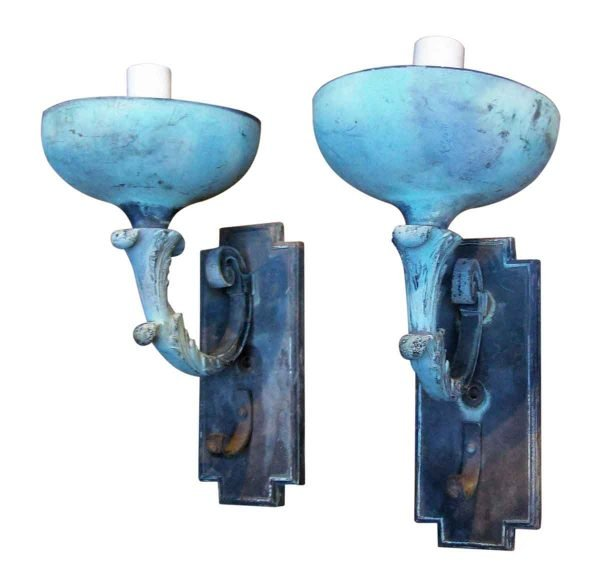 Pair of Old Bronze Exterior Sconces - Sconces & Wall Lighting