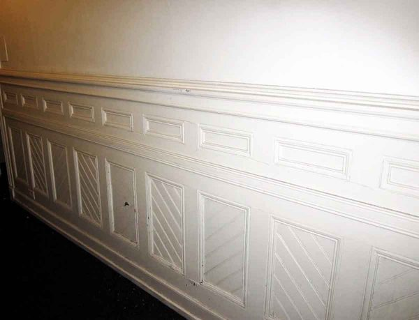 Salvaged Lot of White Wainscoting with Basket Weave Detail - Paneled Rooms & Wainscoting