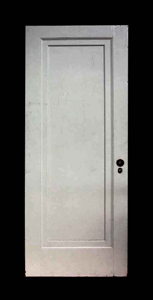 Old White Single Panel Oak Apartment Door - Standard Doors