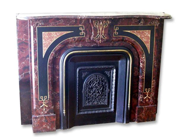 Antique Victorian Slate Mantel with Faux Marble Painted Finish - Mantels