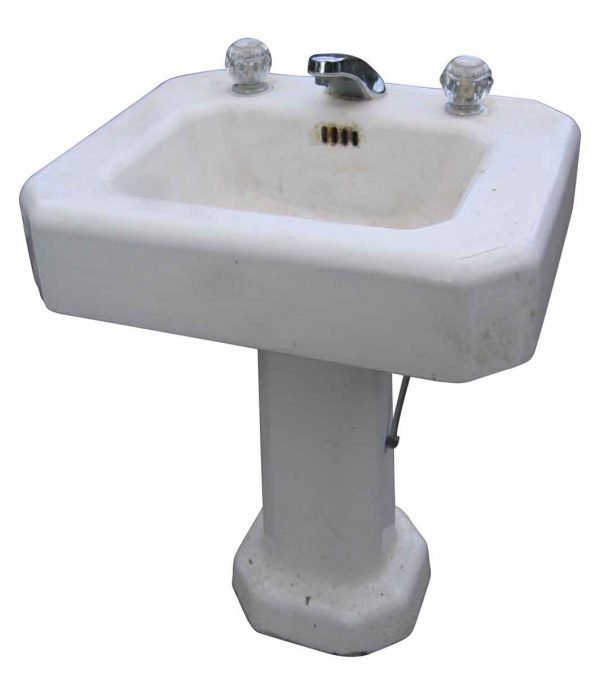 Salvaged White Pedestal Sink with Newer Faucet - Bathroom