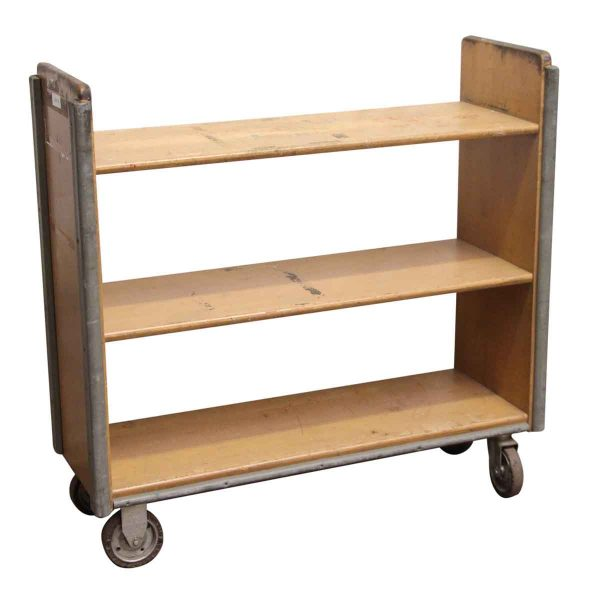Reclaimed Narrow Solid Maple Rolling Book Cart - Carts