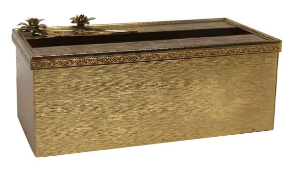 Vintage Brass Floral Rectangular Tissue Box - Bathroom