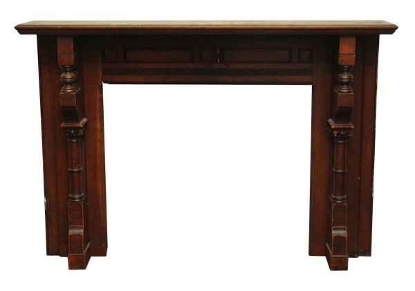 Traditional Dark Stained Wooden Mantel - Mantels