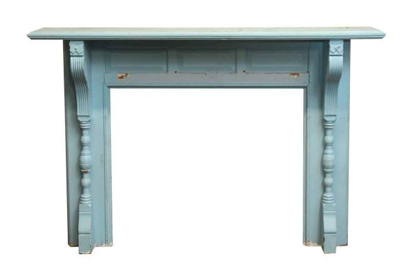 Antique Blue Wooden Mantel with Butterfly Detail - Mantels