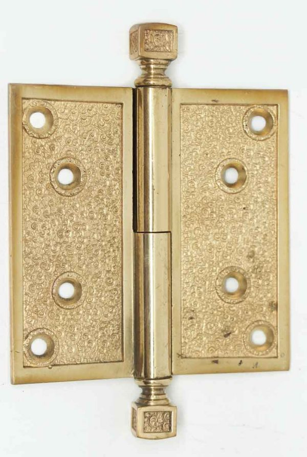 Antique Victorian Field Pattern Bronze Gilded Hinge - Door Hinges