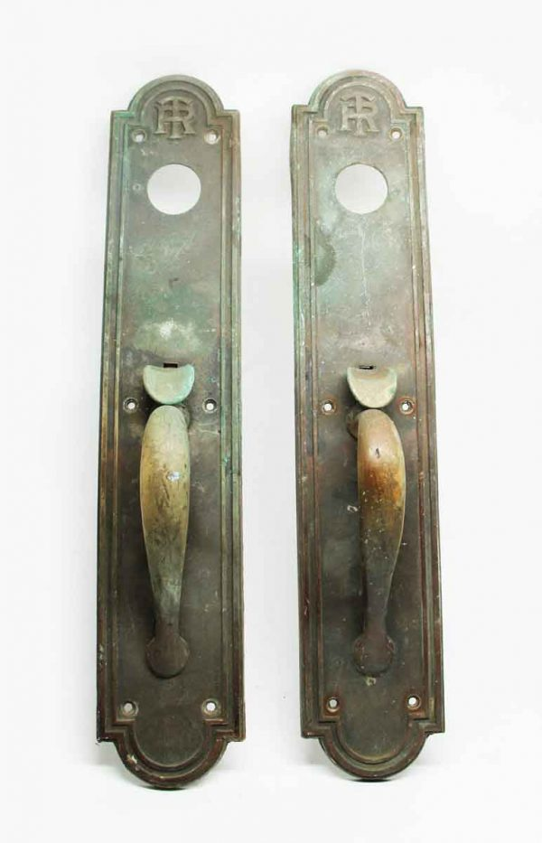 Antique Emblematic TR Pair of Bronze Door Pulls - Door Pulls