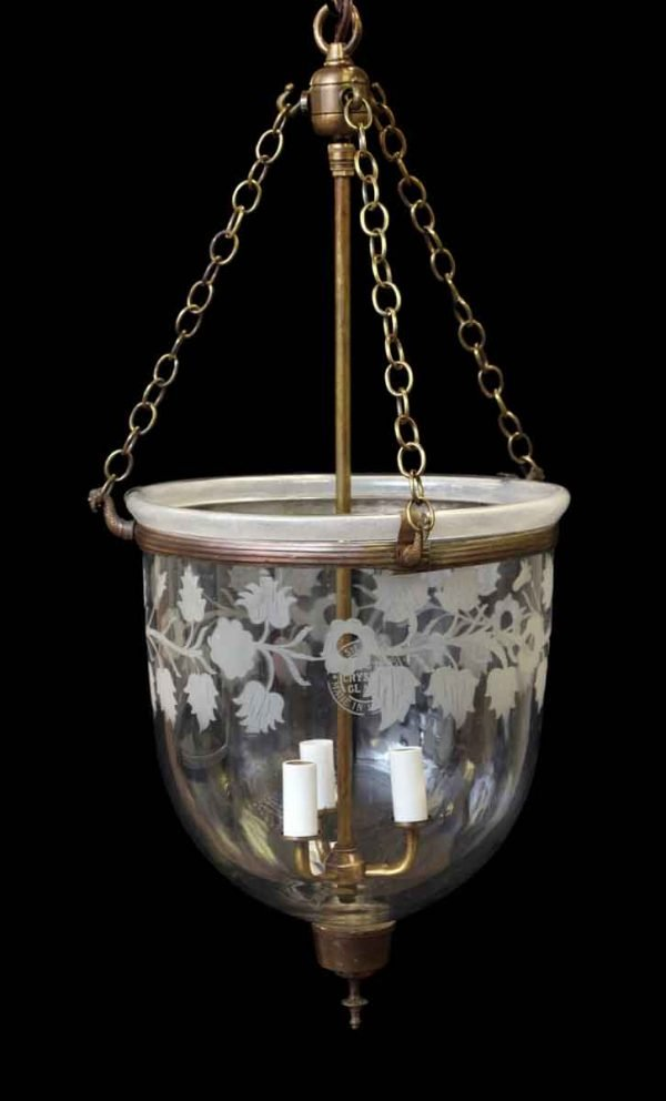 Antique Crystal Bell Jar Light with Three Arms - Up Lights