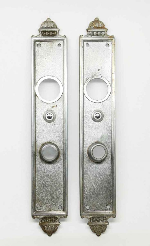 Pair of Art Deco Yale Nickel Over Bronze Back Plates - Back Plates