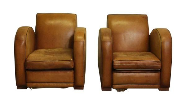 Pair of Art Deco Brown Leather Club Chairs - Living Room