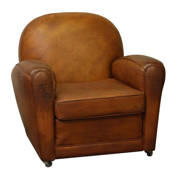 Vintage Rolling Brown Leather Club Chair - Living Room