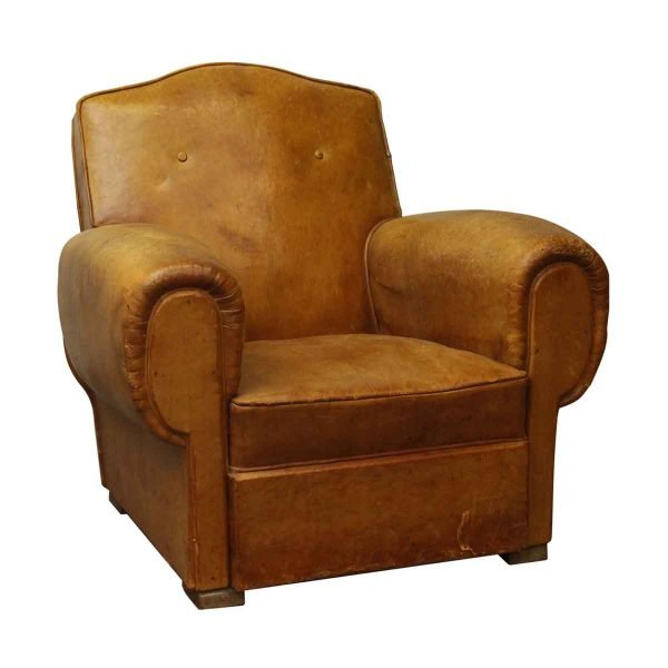 Single Brown French Studded Back Club Chair - Living Room