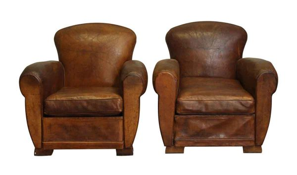 Pair of Refurbished Brown Leather Club Chairs - Living Room