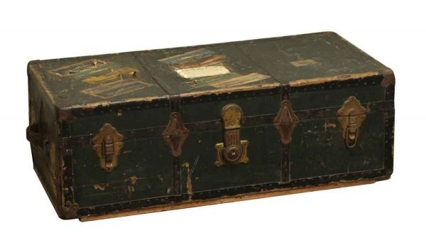 Vintage World Traveled Green Trunk - Trunks