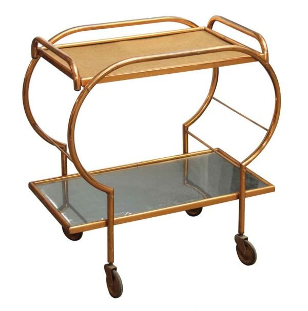 Copper Washed Rolling Bar Cart - Carts