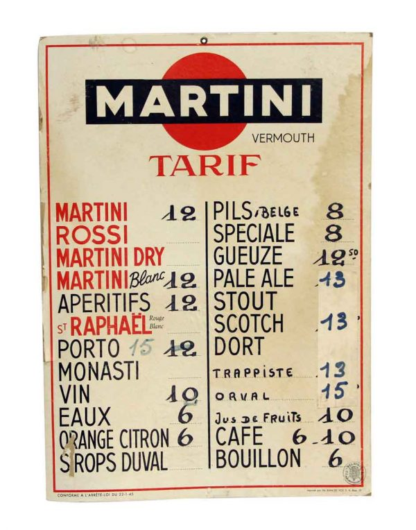 French Imported Martini Menu - Vintage Signs