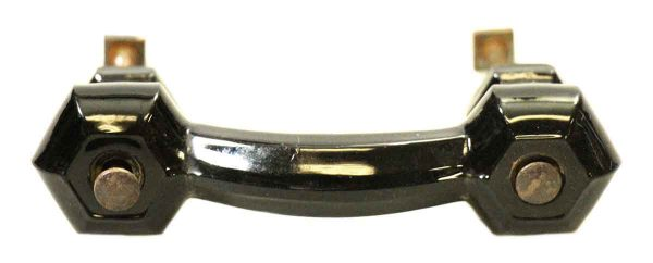 Vintage Black Glass Bridge Drawer Pull - Cabinet & Furniture Pulls