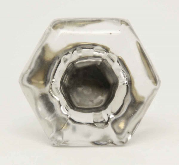 Vintage Clear Hexagon Glass Knob with Brass Shank - Cabinet & Furniture Knobs