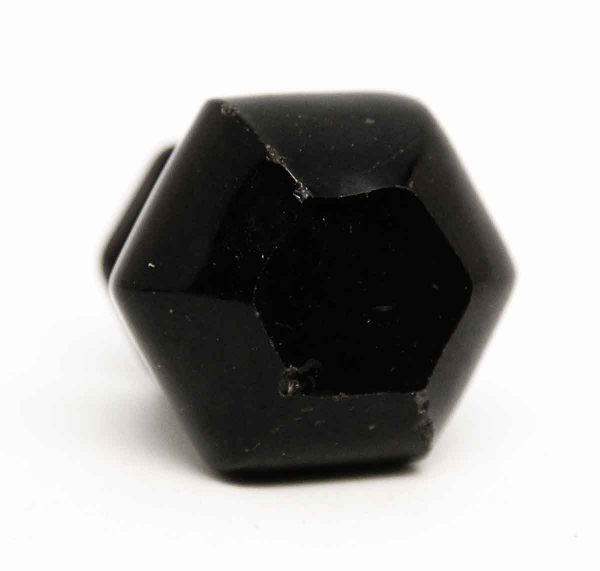 Vintage Hexagon Glass Black Knob - Cabinet & Furniture Knobs