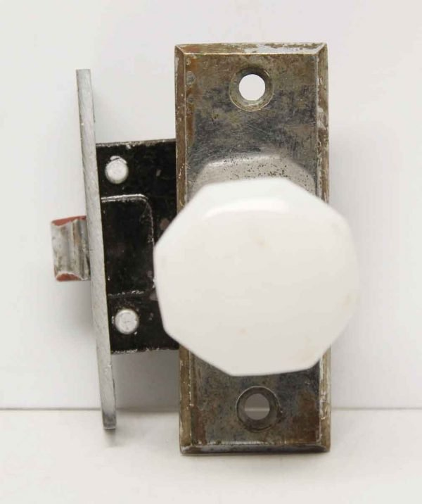 Vintage Milk Glass Cabinet Pull with Plate & Lock - Cabinet & Furniture Knobs