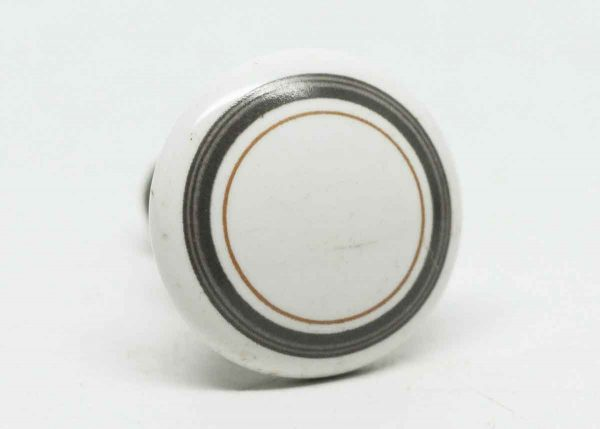 Vintage Ceramic Knob with Gray Circle Design - Cabinet & Furniture Knobs