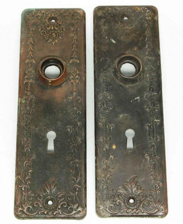 Pair of Antique Floral Brass Plates - Back Plates