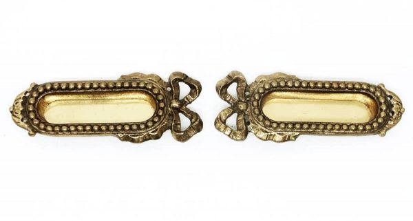 Pair of Beaded Brass Sash Lifts with Bows - Window Hardware