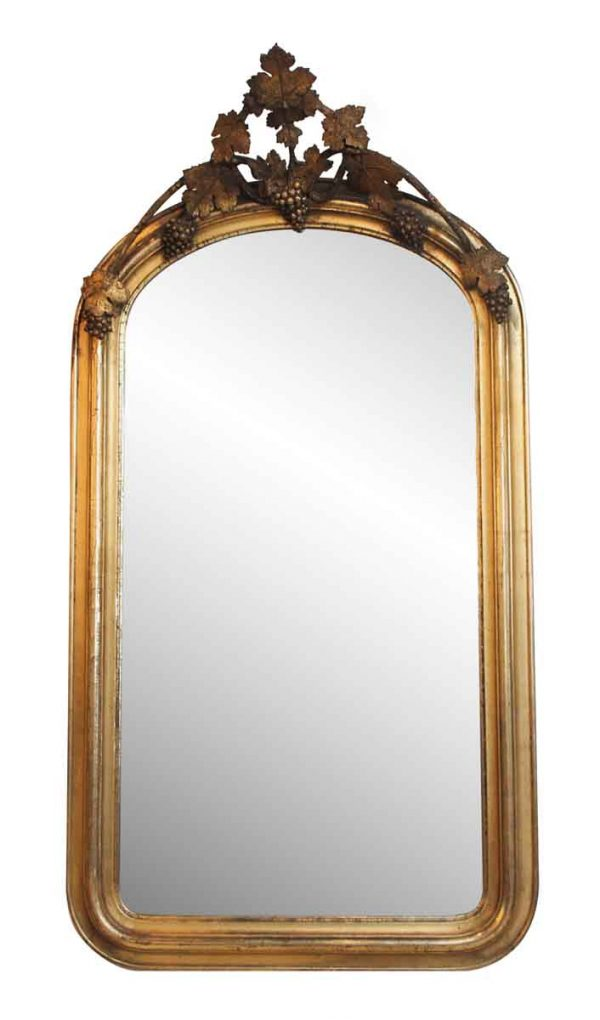 French Gilded Wall Mirror with Leaves & Grapes - Antique Mirrors