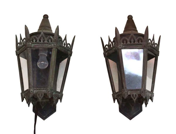 Set of Two Bronze Exterior Sconces - Sconces & Wall Lighting