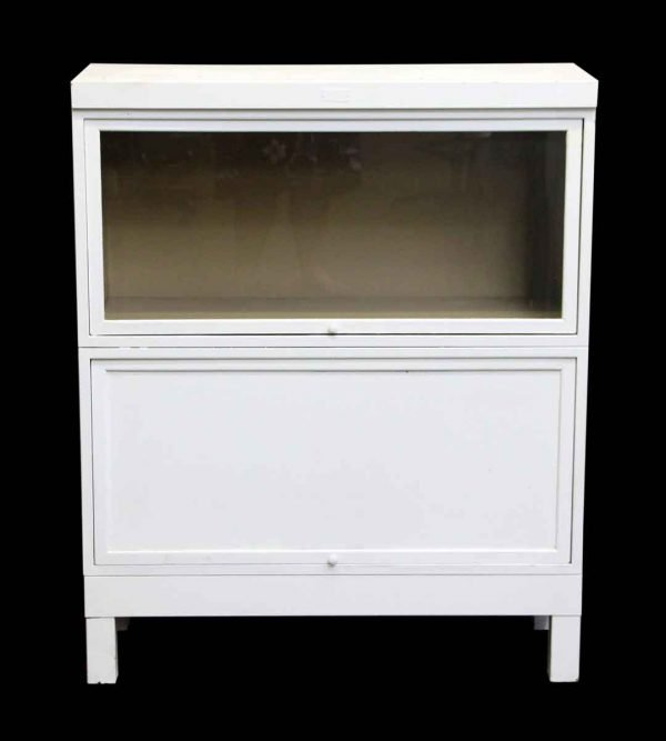 Vintage White Steel Barrister Bookcase - Bookcases