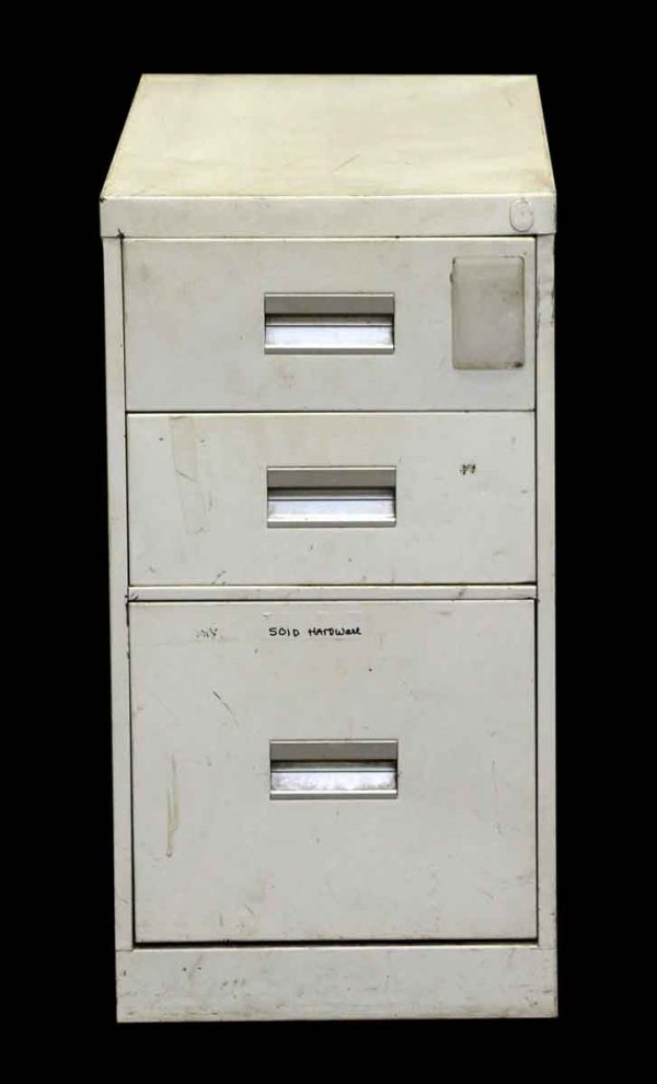 Vintage White Steel Three Drawer File Cabinet - Office Furniture