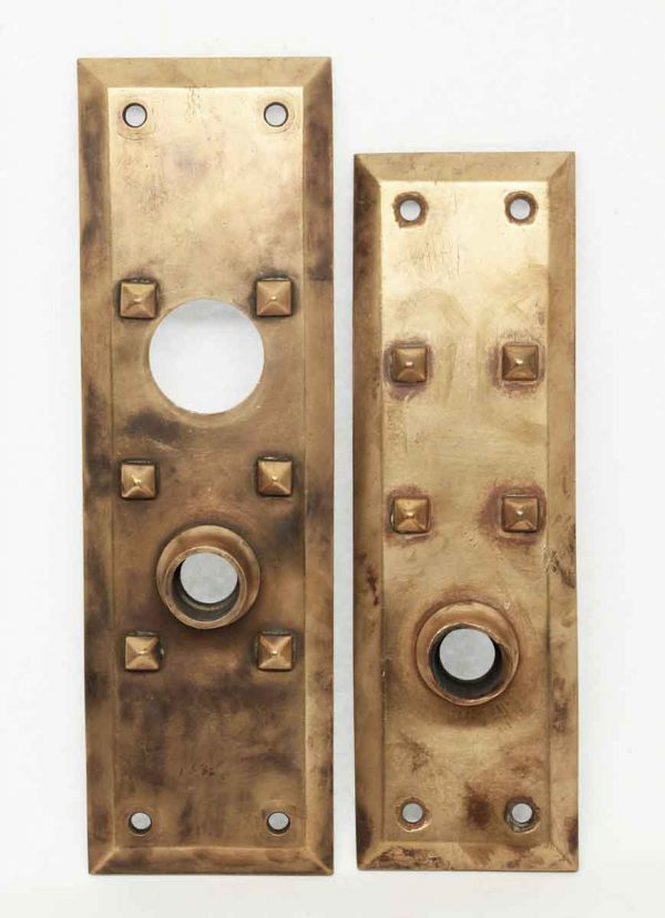 Art & Crafts Cast Bronze Entry Doorknob Plates - Door Hardware