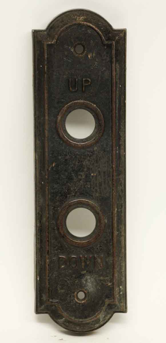 Black Patina Up & Down Elevator Button Plate - Elevator Hardware
