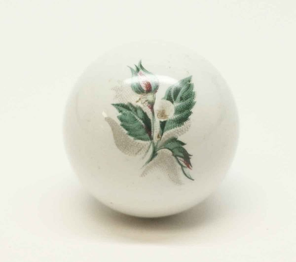 Vintage Rose Detailed White Ball Shaped Knob - Cabinet & Furniture Knobs