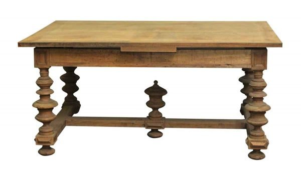 Antique Pine Table with Turned Legs - Kitchen & Dining