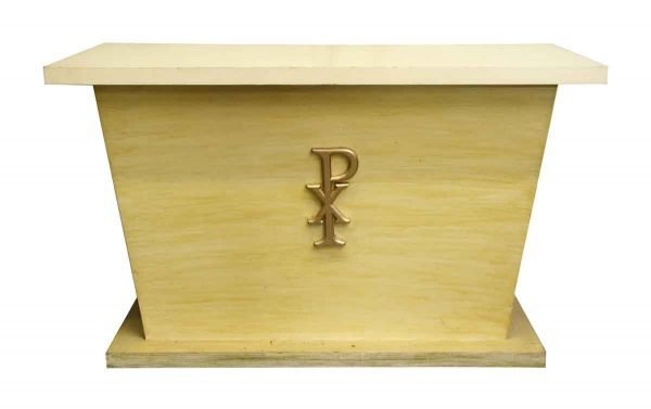 Small Wooden Alter with Chi Rho Symbol - Religious Antiques