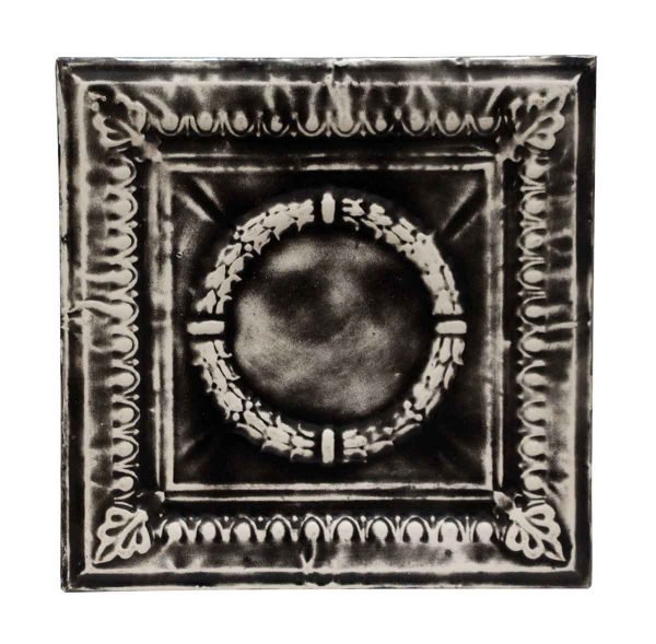 Black & White Wreath Antique Tin Panel - Tin Panels