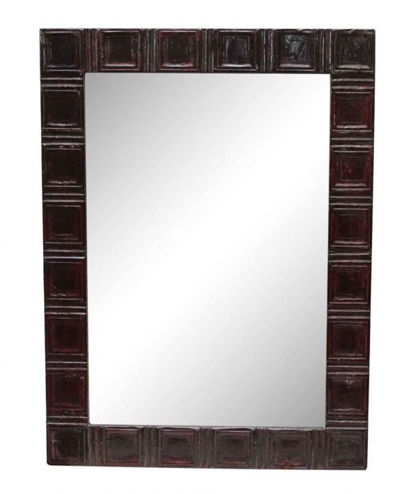 Deep Red Squares Style Antique Tin Mirror - Antique Tin Mirrors