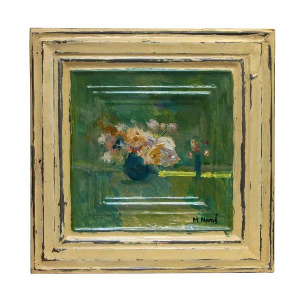 Hand Painted Floral Still Life Antique Tin Panel - Hand Painted Panels