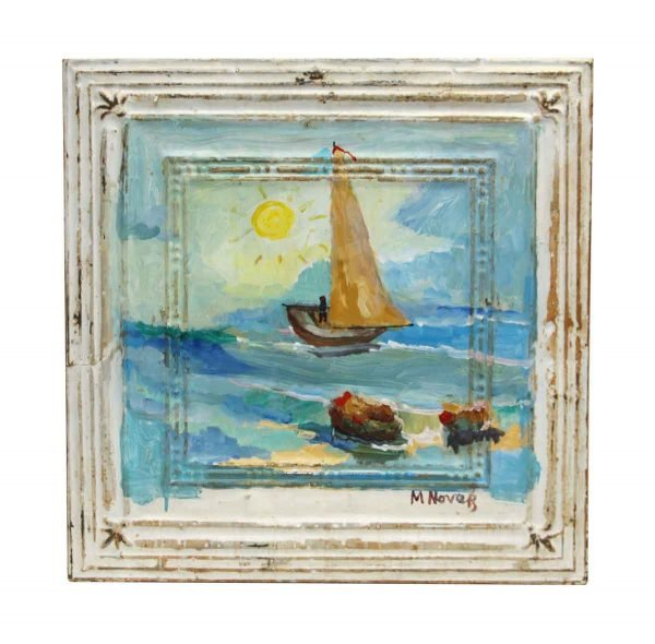 Hand Painted Boat Portrait Antique Tin Panel - Hand Painted Panels