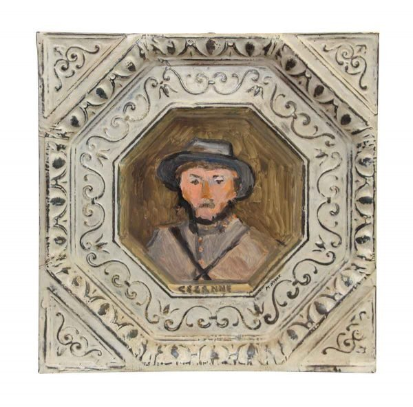 Cezanne Painted Portrait Antique Tin Panel - Hand Painted Panels