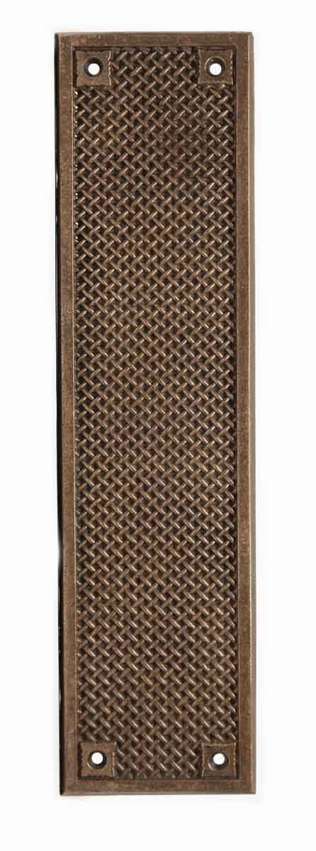 Push Plates - Antique Bronze Weave Patterned Door Push Plate