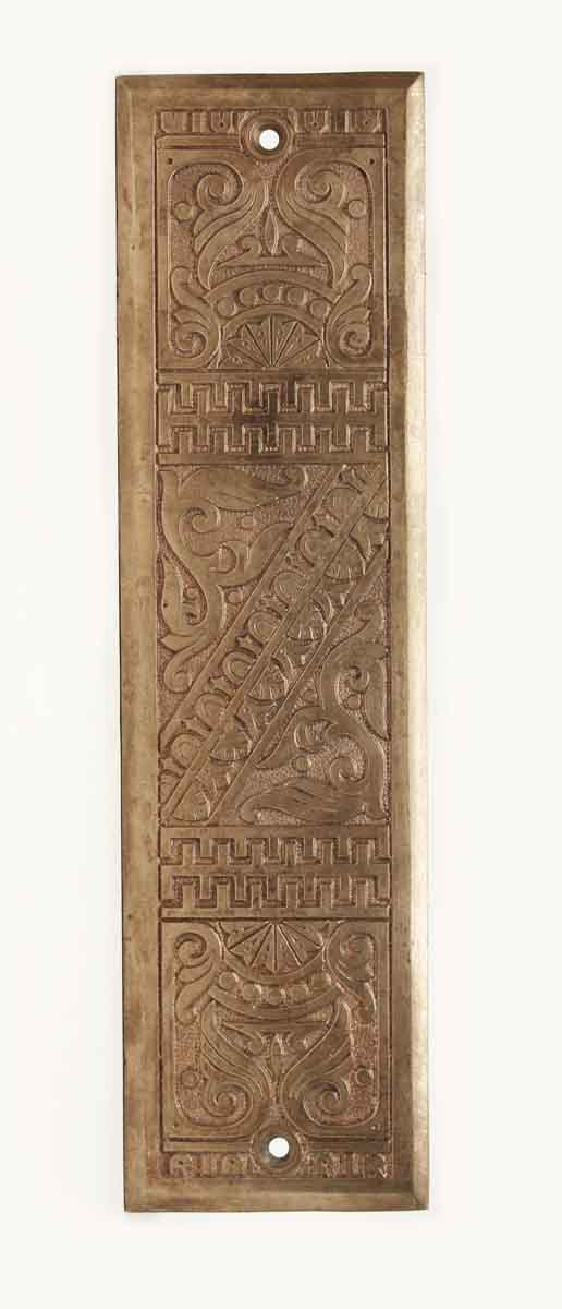 Push Plates - Antique Victorian Polished Bronze Door Push Plate