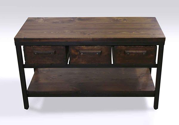 Altered Antiques - Reclaimed Pine & Steel Console with Antique Factory Wood Drawers