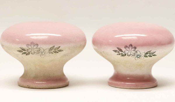 Cabinet & Furniture Knobs - Pair of Floral Pink Ceramic Drawer Knobs