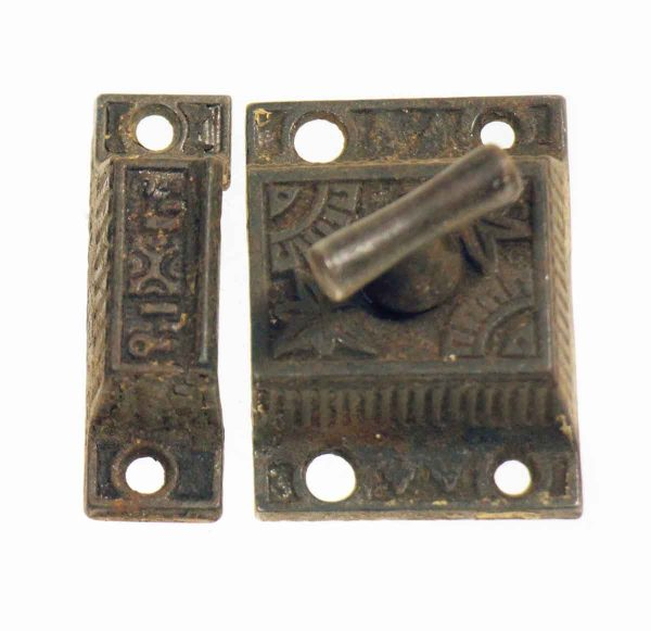 Cabinet & Furniture Latches - Antique Ornate Iron Cabinet Latch