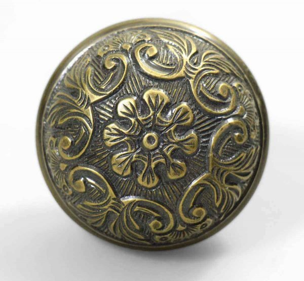 Door Knobs - Antique 8 Fold Bronze Floral Door Knob