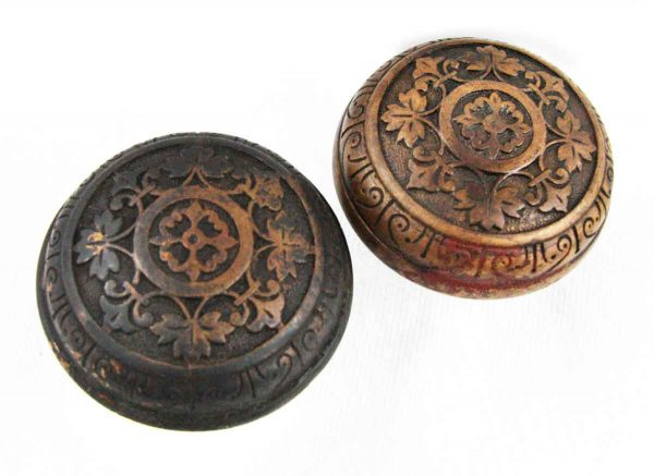 Door Knobs - Antique Corbin Leaf Pattern Brass Interior Door Knob Set