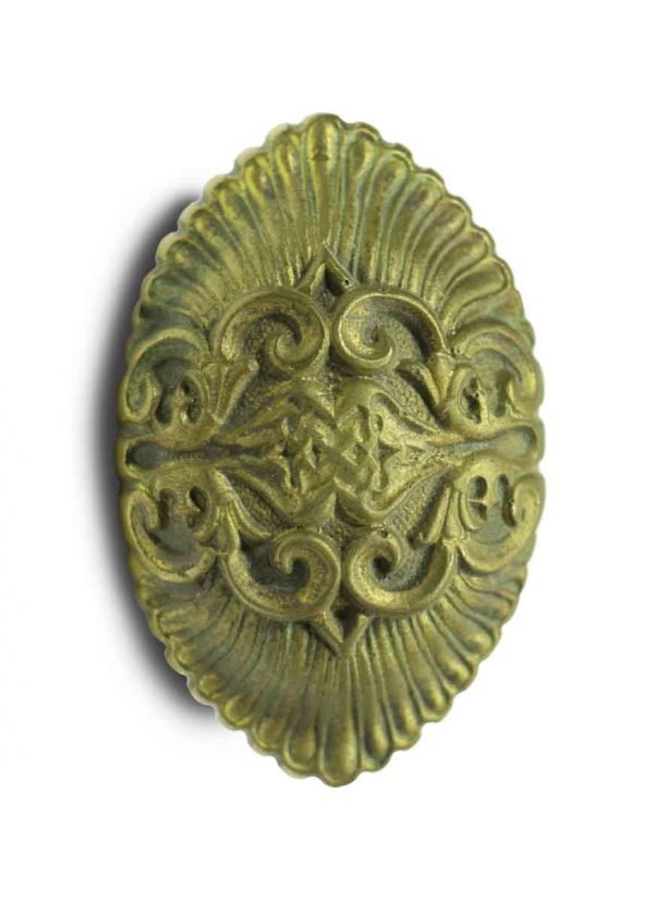 Door Knobs - Antique French Brass Highly Ornate Oval Door Knob