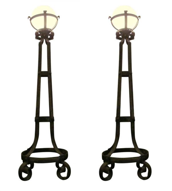 Exterior Lighting - Pair of Antique Wrought Iron Exterior Torchiere Lamps